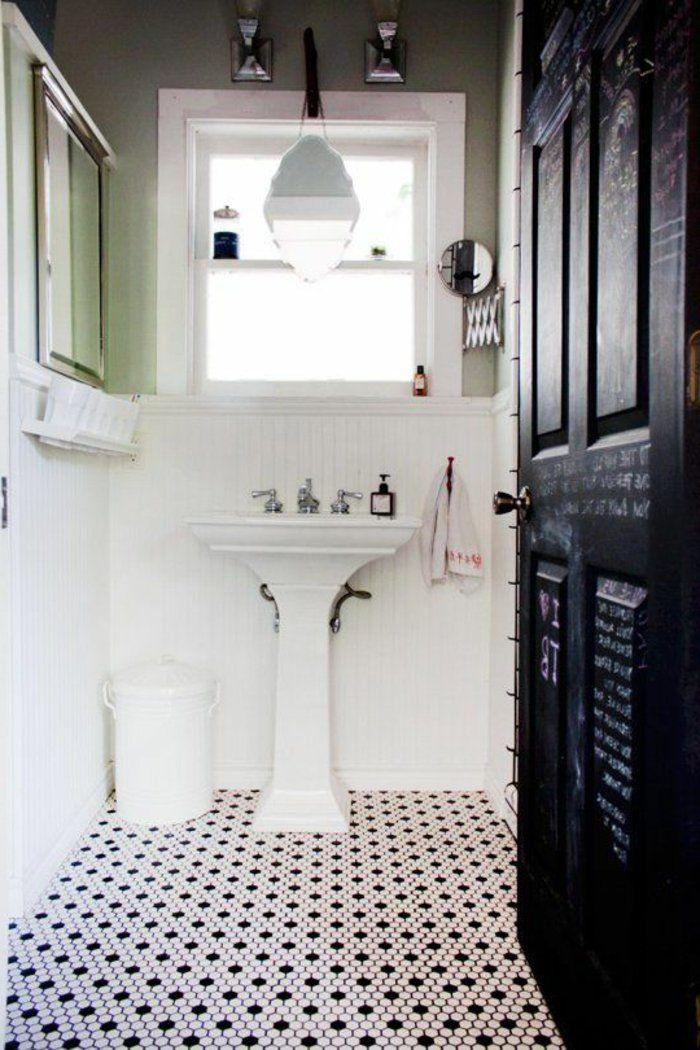 Vous Cherchez Des Idees Pour Un Carrelage Noir Et Blanc On Vous Les Presente En 45 Photos Carrelage Salle De Bain Carrelage Noir Et Blanc Salle De Bain Noir