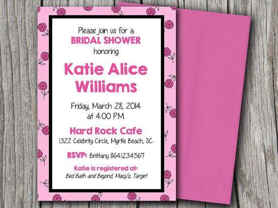 Bridal Shower Invitation Microsoft Word Template 5x7 Black Pink - bridal shower invitation templates for word
