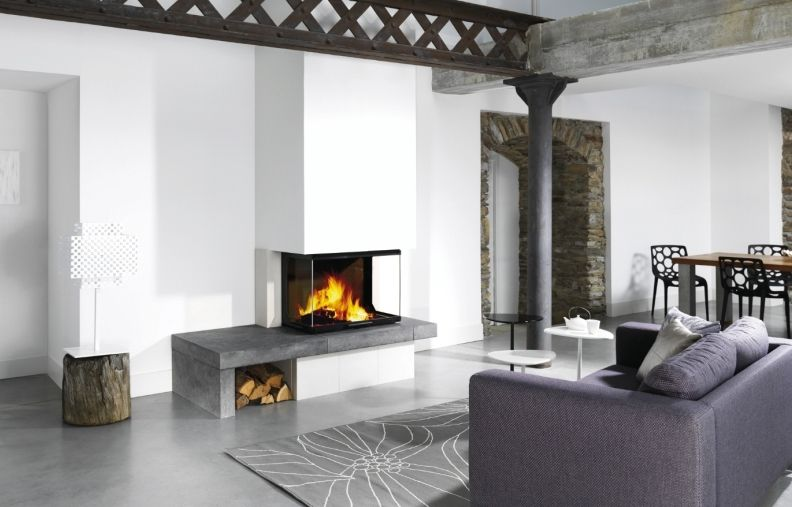 Chemin e design avec insert bois 3 faces atra design fireplace with 3 sides - Idee cheminee design ...