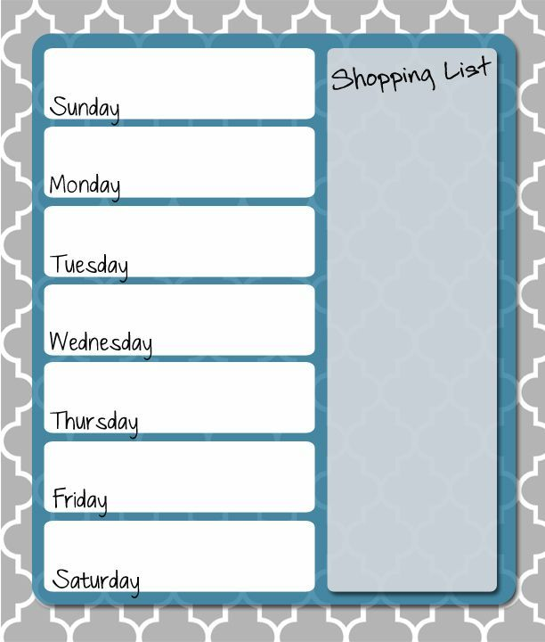 Free Printable Weekly Meal Planner With Shopping List Section
