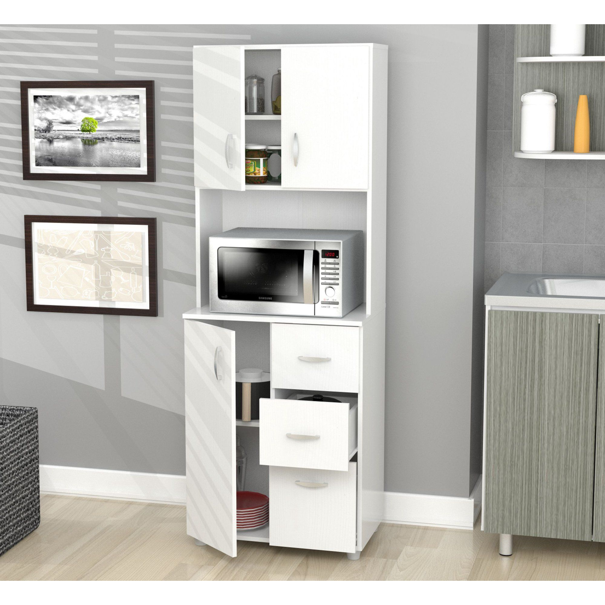 Kitchen Microwave Storage Cabinet White