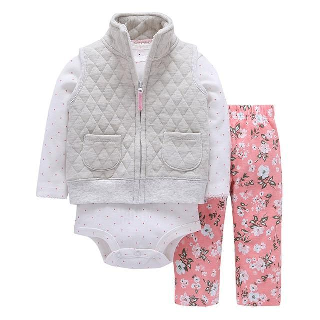 cc4c874ef Newborn Baby boy Girls Clothes set Hooded long Sleeve Coat  floral+Bodysuits+Pants,autumn winter infant new born outfit 2019