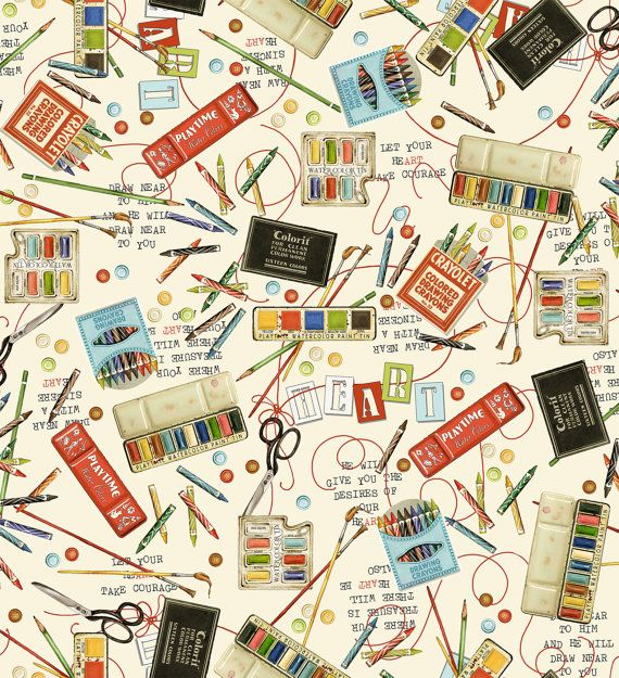 Art Supplies Fabric - Draw Near Tossed Crayolet & Paint by Janet Wecker Frisch - Quilting Treasures 23371 E -  1/2 yard