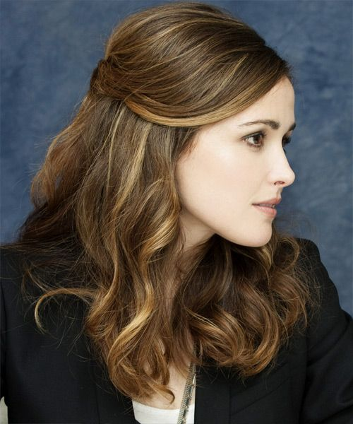 Rose Byrne with medium length hair in a half updo with loose curls- wedding hair idea