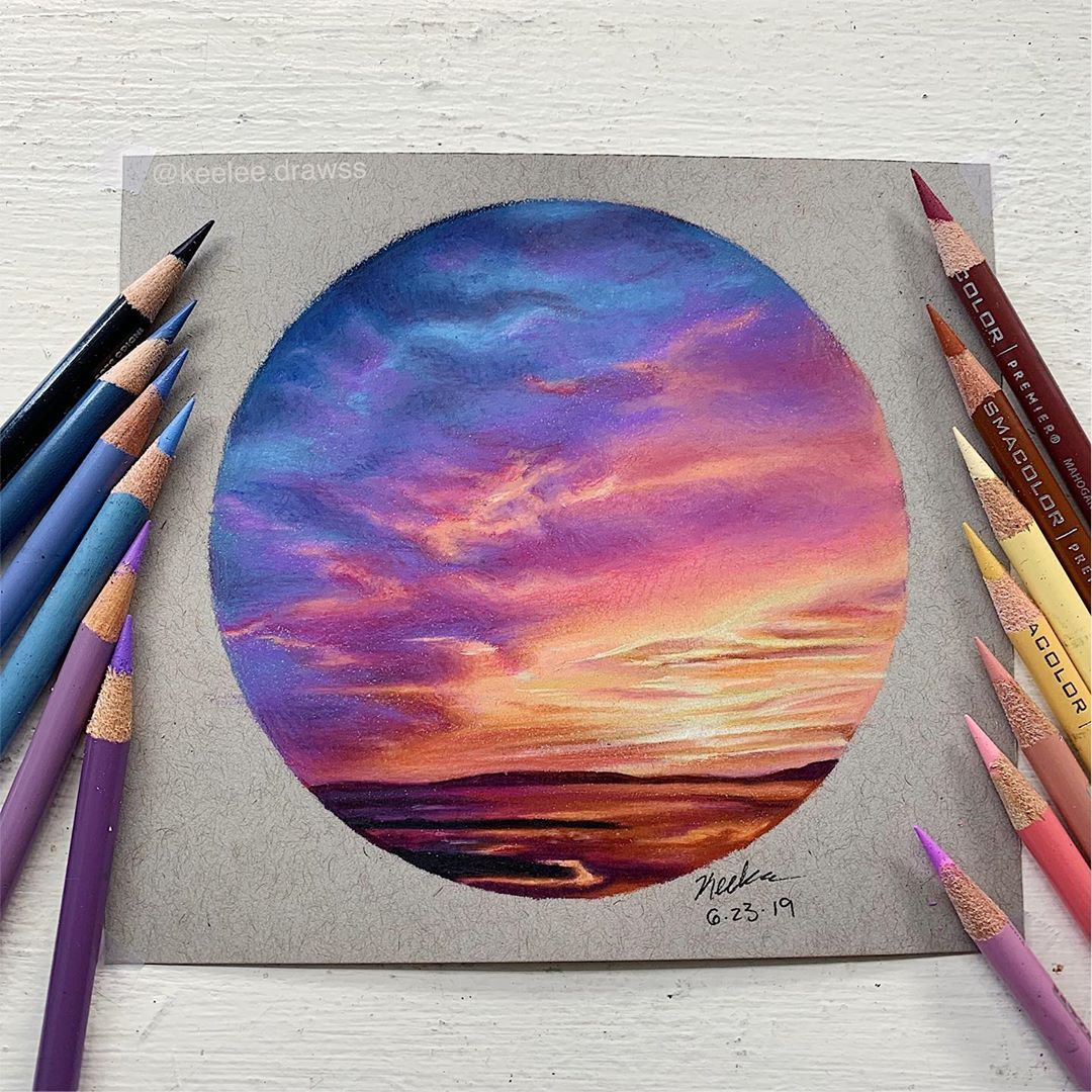 Hello Everyone Here S This Lil Circle Sunset Drawing I
