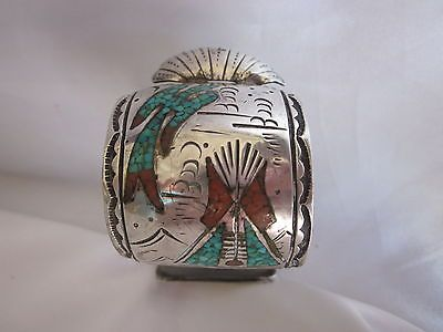 Old Navajo Sterling Cuff Watch Bracelet Signed 120g