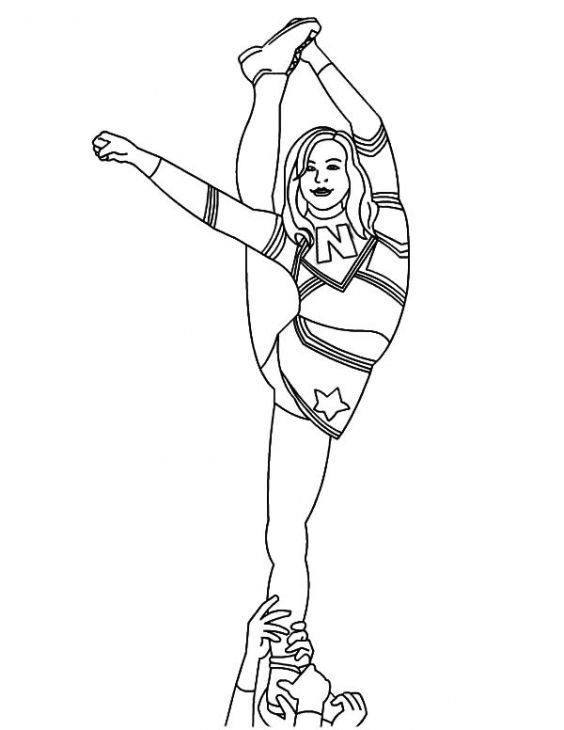 Amazing Cheerleader standing on one leg coloring page | Coloring ...