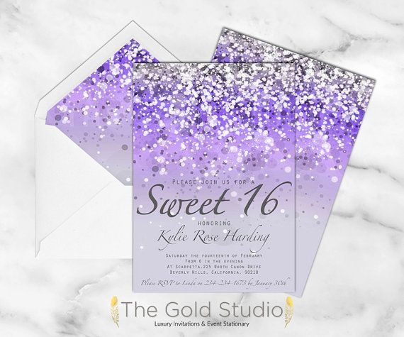 Sweet 16 invitation Purple Glitter Sweet sixteen invite | Lilac 16th Birthday Party | Glamorous modern sweet 16 Luxury Printed Invitations #sweetsixteen A beautiful modern Sweet 16 invitation in a lovely feminine design, sure to make a big hit with your guests.  Our invitation is printed double sided and includes envelopes with all orders. For information on our paper options please see the descriptions in our FAQs or the listing photos above. HOW TO ORDER: *Add the Quantity and Paper option you #sweet16birthdayparty