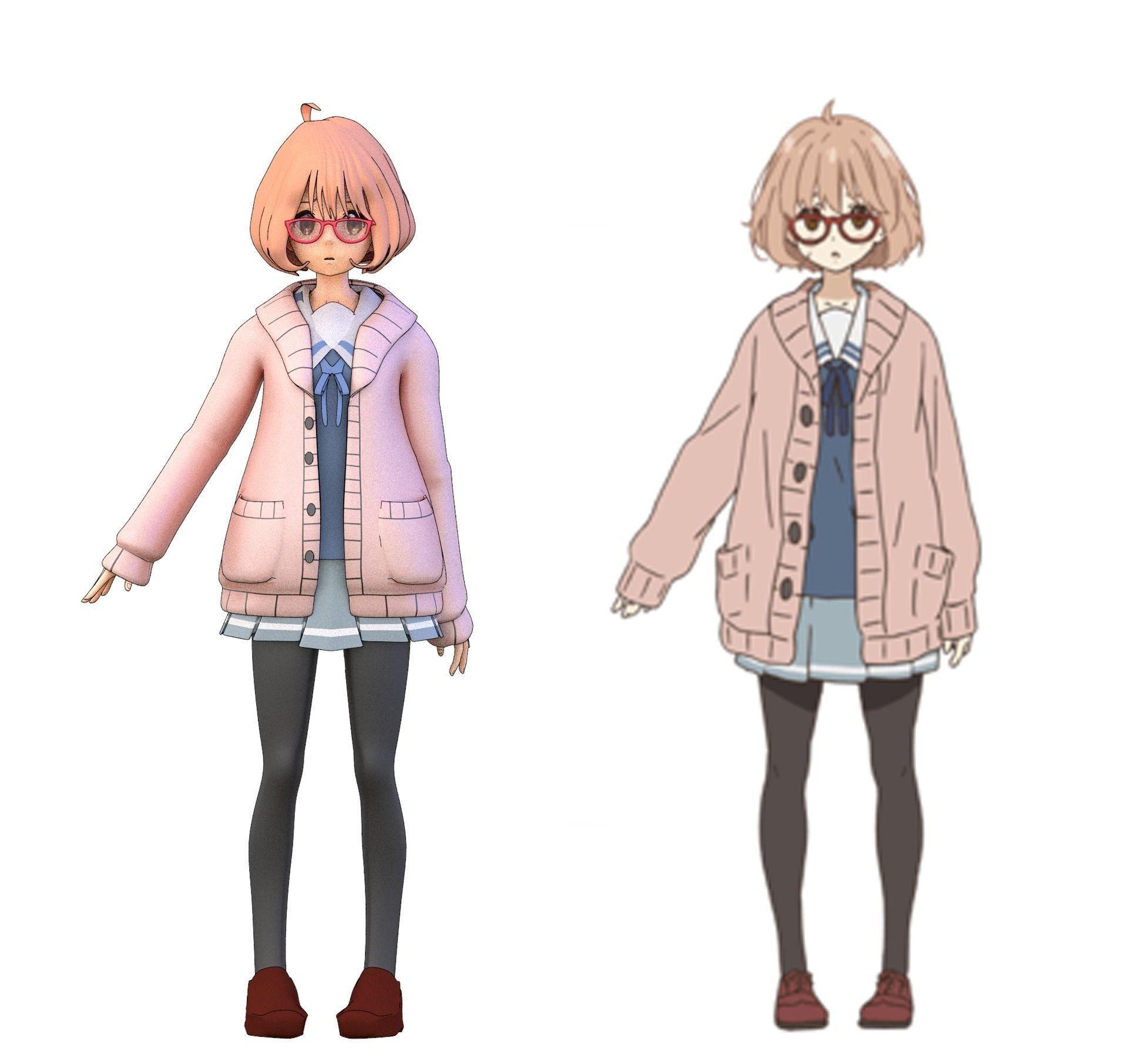 mirai from kyoukai no kanata 3d model blend 1(画像あり