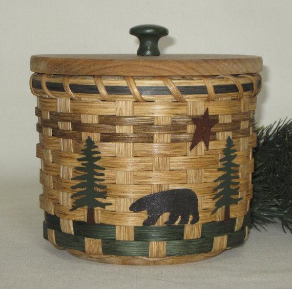 Lidded Toilet Paper Basket Single Roll Storage By JGBaskets, $30.00
