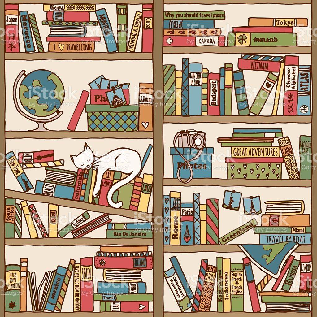 Image result for bookshelf background with cat (With