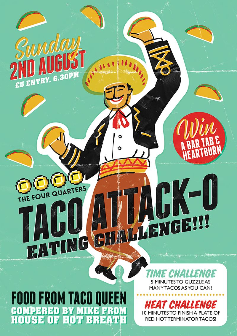 Poster design freelance - Vintage Poster Design For The Four Quarters Arcade Bar In Peckham London Taco Eating