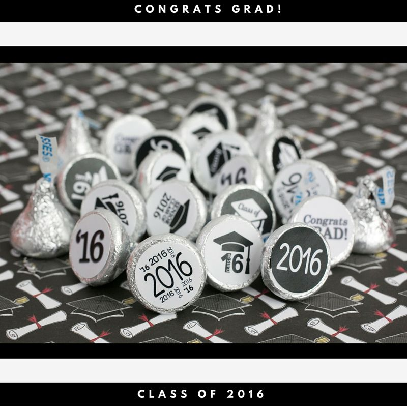 sample open house graduation party invitations%0A Black and White Class of      Graduation Stickers  Set of