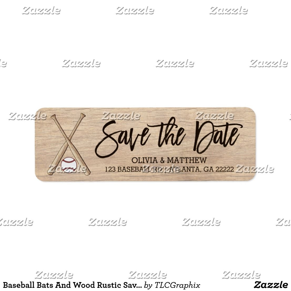 Baseball Bats And Wood Rustic Save The Date Label Wedding