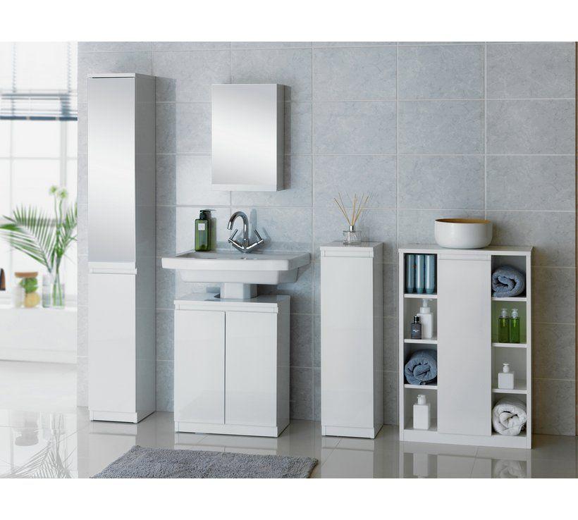Buy Argos Home Gloss Console Storage Cabinet White Bathroom Furniture Bathroom Floor