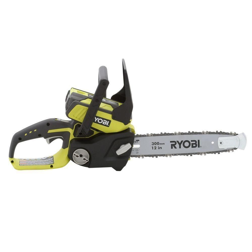 Ryobi reconditioned 12 in 40 volt lithium ion electric cordless ryobi chainsaw 12 in bar 40 volt lithium battery electric cordless chain saw greentooth Choice Image