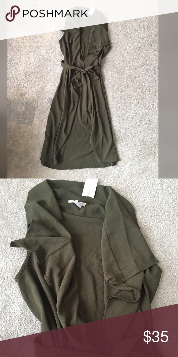 Sleeveless Olive Trench New with tag! Very fashionable and so so trandy! You will love it!!! Poetry Jackets & Coats Trench Coats