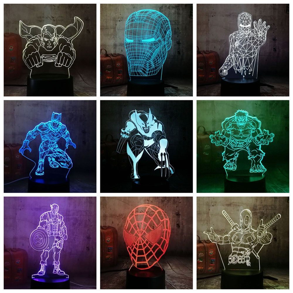 Super Heroes 3d Led Lamp Night In 2020 3d Led Lamp Night Light 3d Night Light
