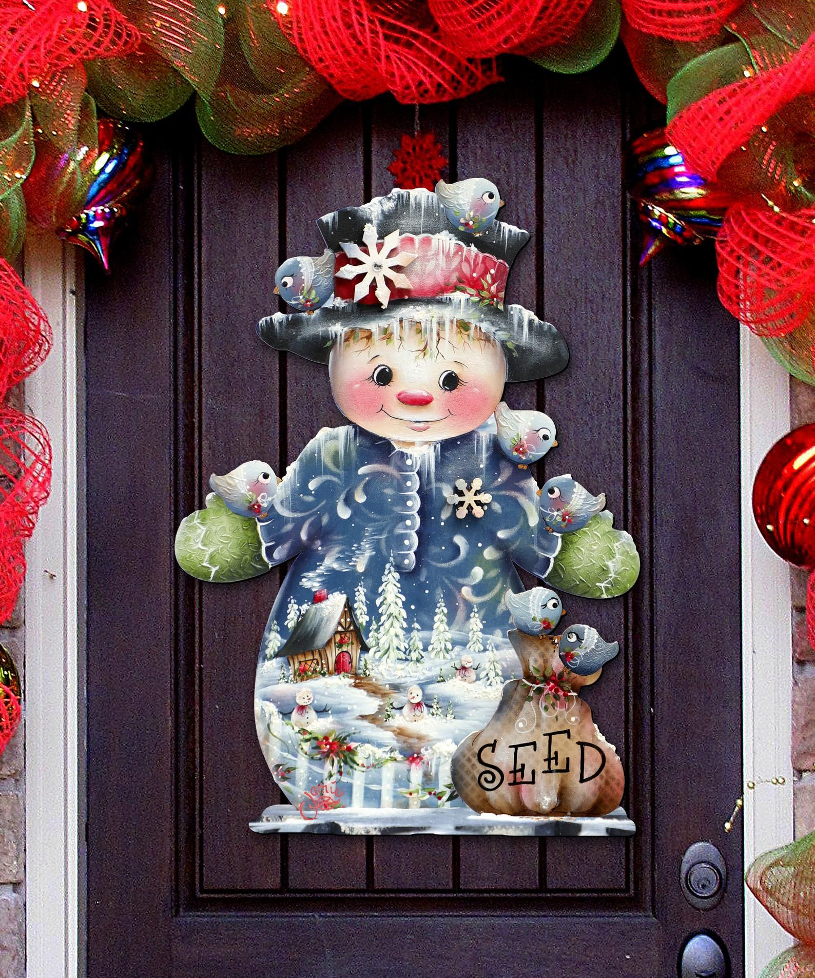 Photo of Outdoor Christmas Decorations – Christmas decor Snowman Wooden Door Hanger by Jamie Mills Price – Wall decor 8457511H
