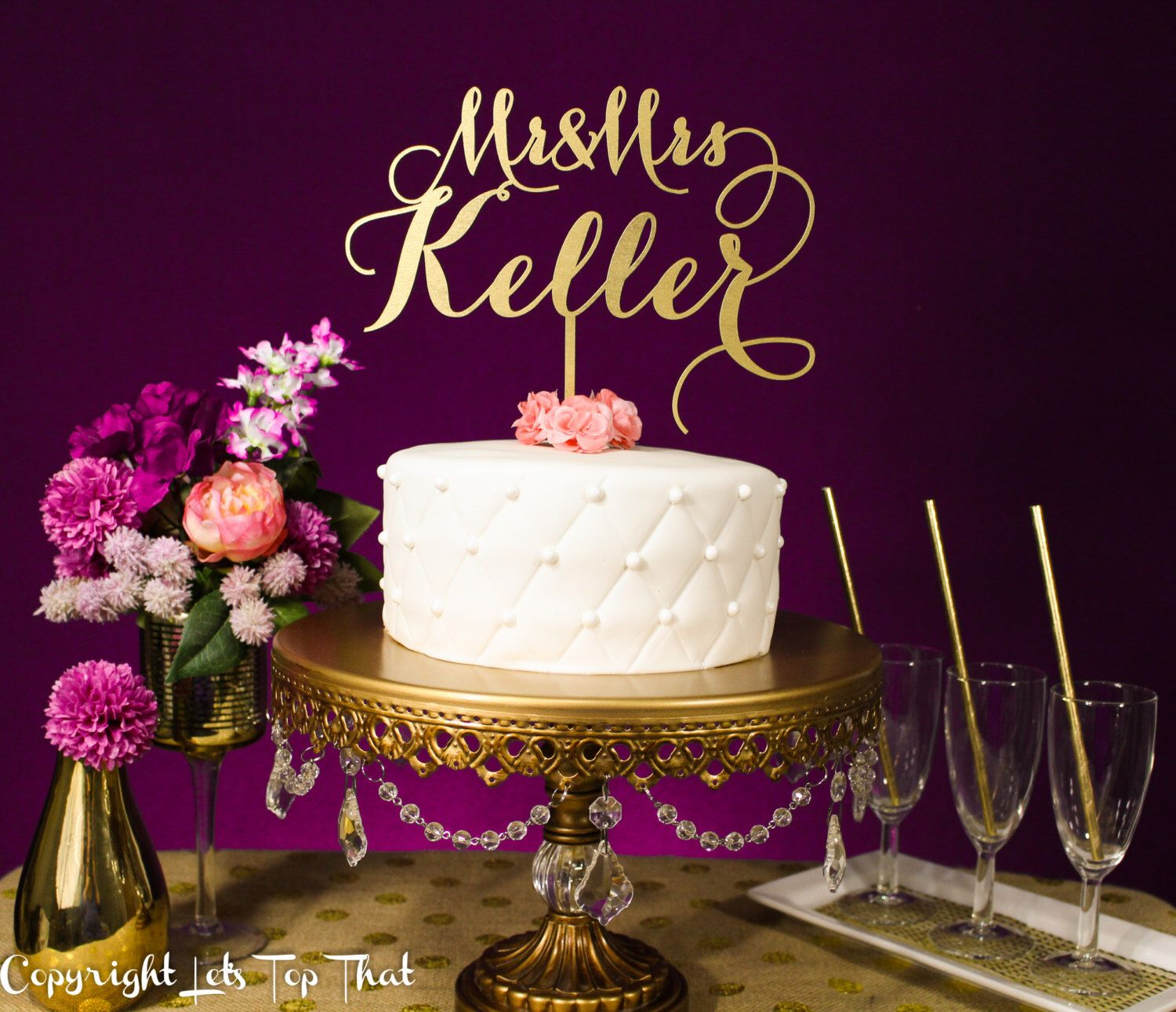 Wedding cake topper custom last name silver or gold metallic by
