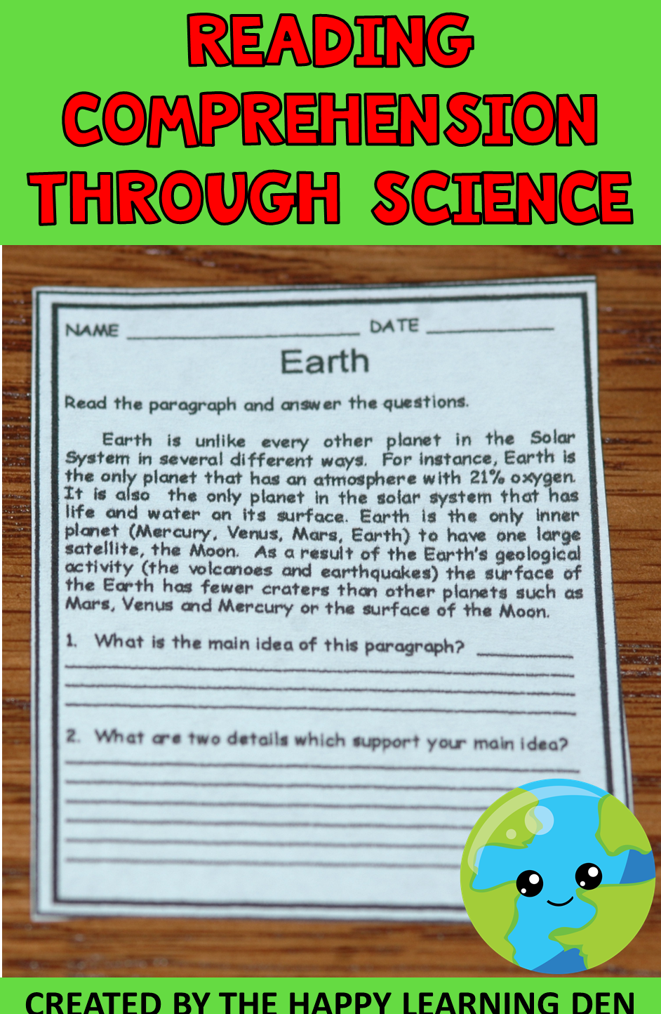Earth Comprehension Main Idea and Compare Contrast   Reading comprehension  worksheets [ 1444 x 942 Pixel ]