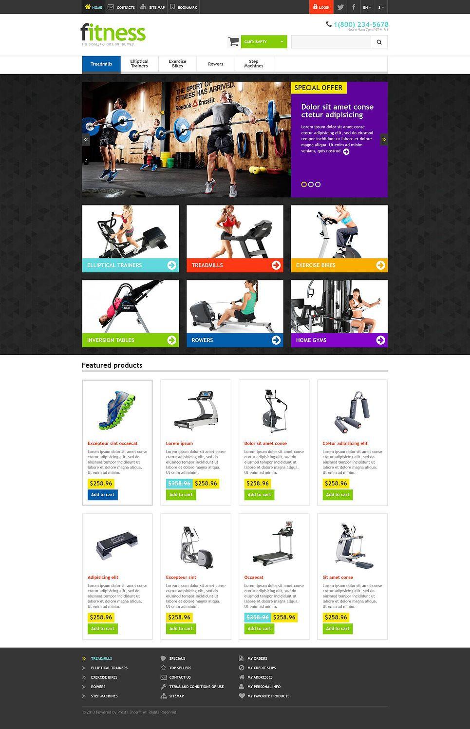 e8384548074c09 12+ Sports Shop Clothing   Accessories Ecommerce Website Templates (Sports  Store PrestaShop Themes) - Responsive Fitness Store