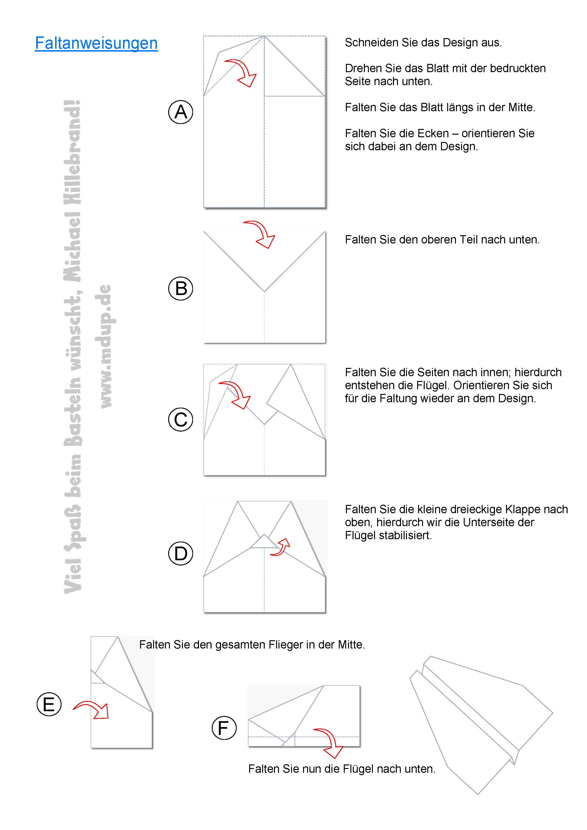 Faltanleitung zur Papierflieger-Vorlage zum selber Ausdrucken ...