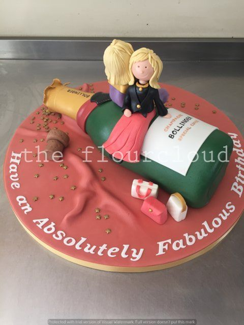 Ab Fab themed champagne birthday cake sugar craft and tutorials