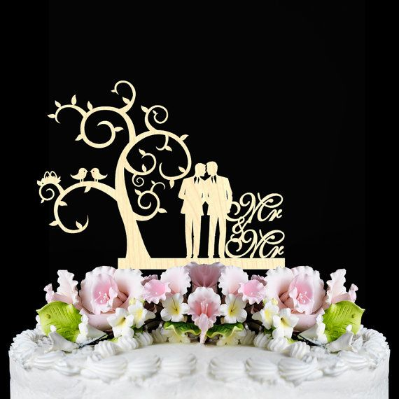 Rustic Wedding Cake Topper Gay Same Sex Mr And