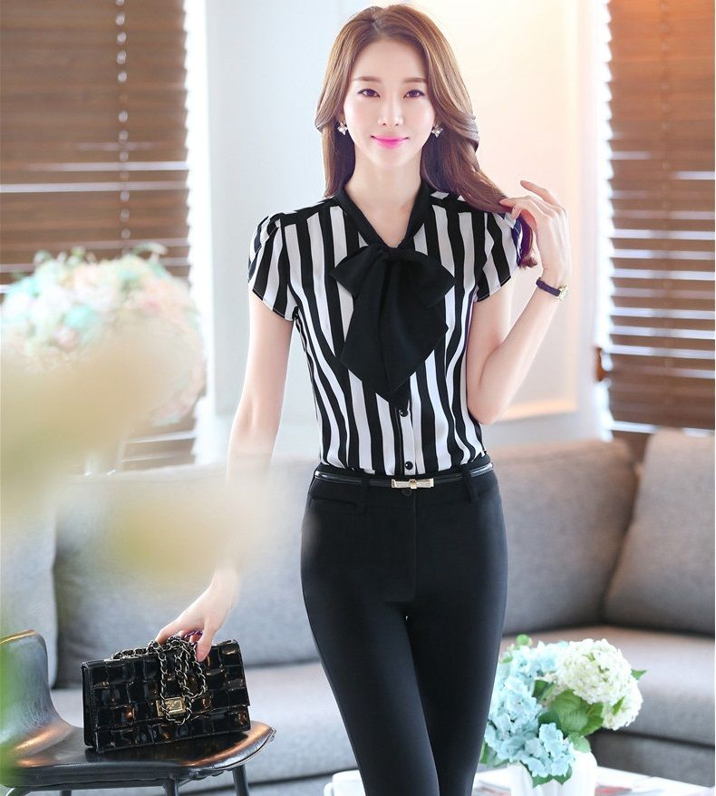 fe5fe36e771 Cheap Plus tama ntilde o 4XL uniforme Formal de dise ntilde o femenino  trajes Tops y pantalones elegante Stirped para mujer ropa de trabajo de  negocios ...