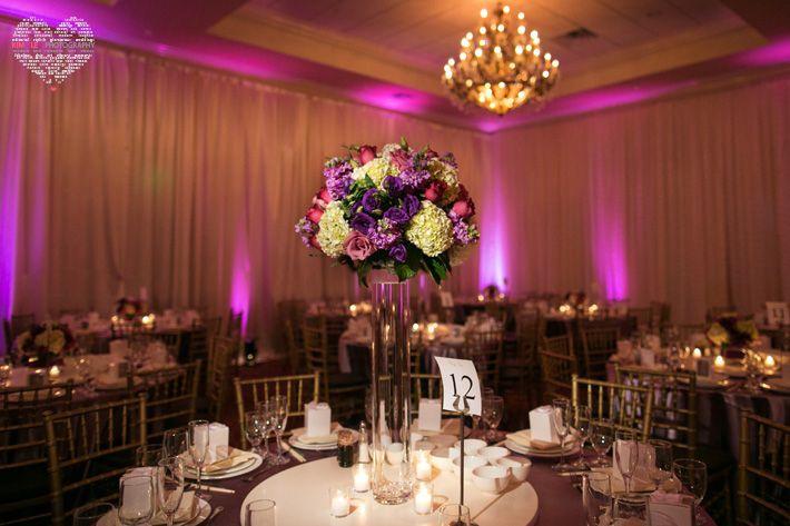 Centerpiece With Purple Flowers White Hydrangeas Purple Lisianthus
