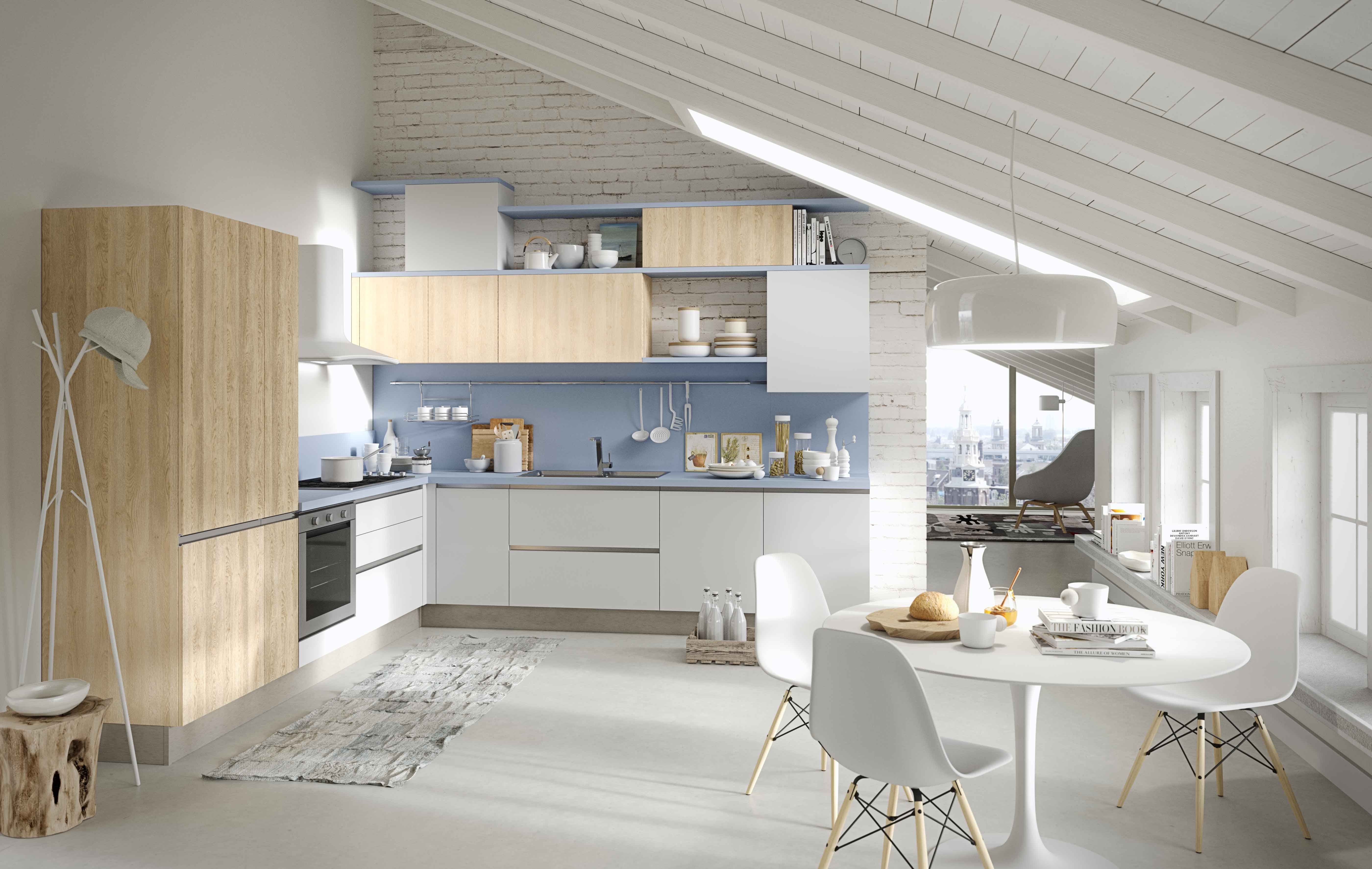 Kitchen up available with doors in nature oak melamine and arctic