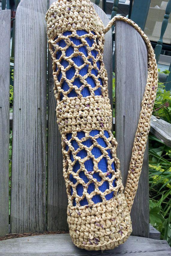 Hot Yoga Mat Bag Recycled Plastic Bag Crochet Tote Brown Woven