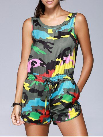 Fashionable Camouflage Printing Sleeveless Drawstring Romper For Women