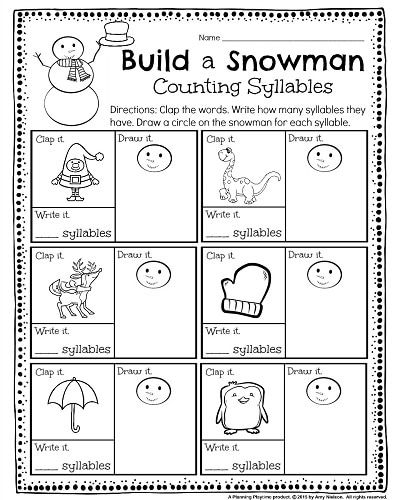 Kindergarten Math and Literacy Worksheets for December ...