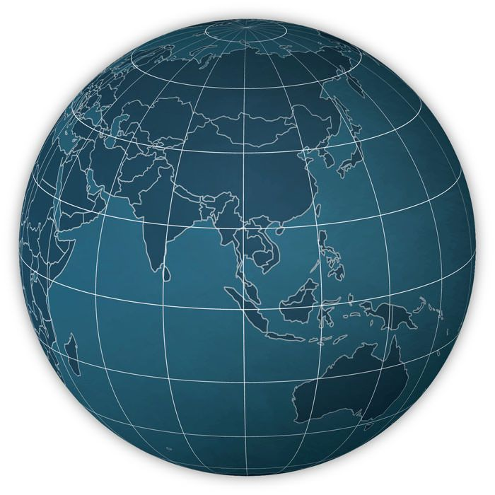 Example of a PowerGlobe for Illustrator in the map style Sci-Fi