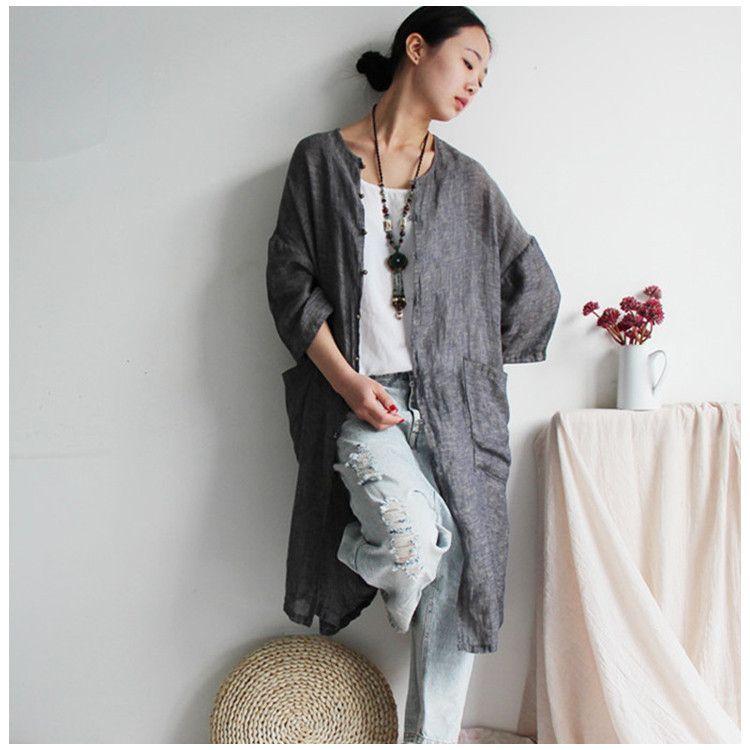 Femmes printemps manteau cardigan en lin - Tkdress - 1