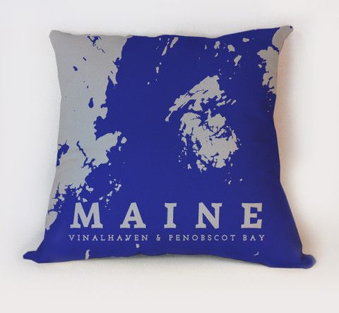 Vinalhaven Penobscot Bay Maine Navy Coastline By Anne Zimmerman Maine Pillow Nautical Chart Decor Penobscot