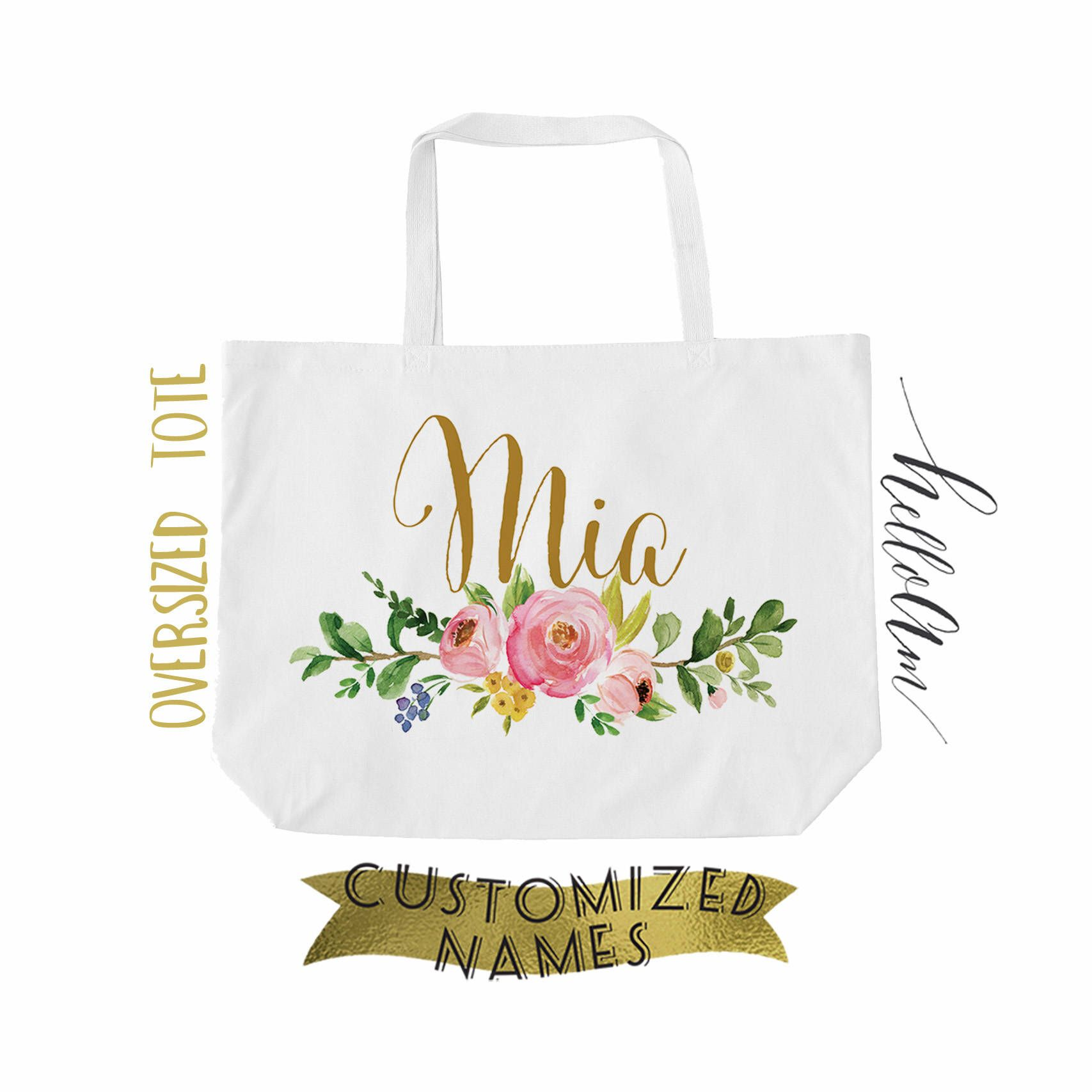 Personalized Tote Bag Monogrammed Bridesmaid Wedding Gift Totes