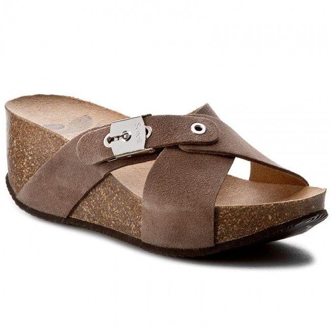 Klapki Scholl New Elon F26582 1184 350 Dk Taupe Taupe Shoes Wedges