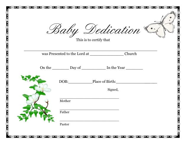 Printable Baby Dedication Certificate Templates Printables Free Geburtsurkunde Abschlusszertifikat Totenschein