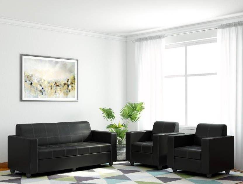 Bharat Lifestyle Cosmo Leatherette 5 Seater Sofa Set 3 1 1 Black Butterfly 5 Seater Sofa Set Black Silver Bharat Life In 2020 Sofa Set Sofa Set Designs 5 Seater Sofa