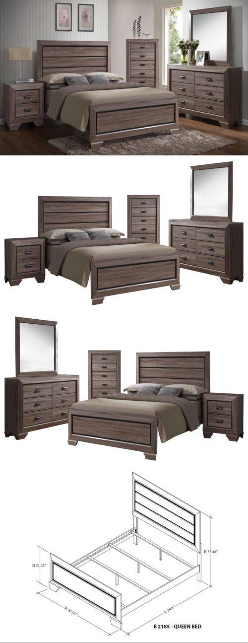 Bedroom Sets 20480 Kings Brand Black Brown Wood Modern Queen Size