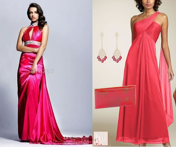Vestido longo rosa goiaba