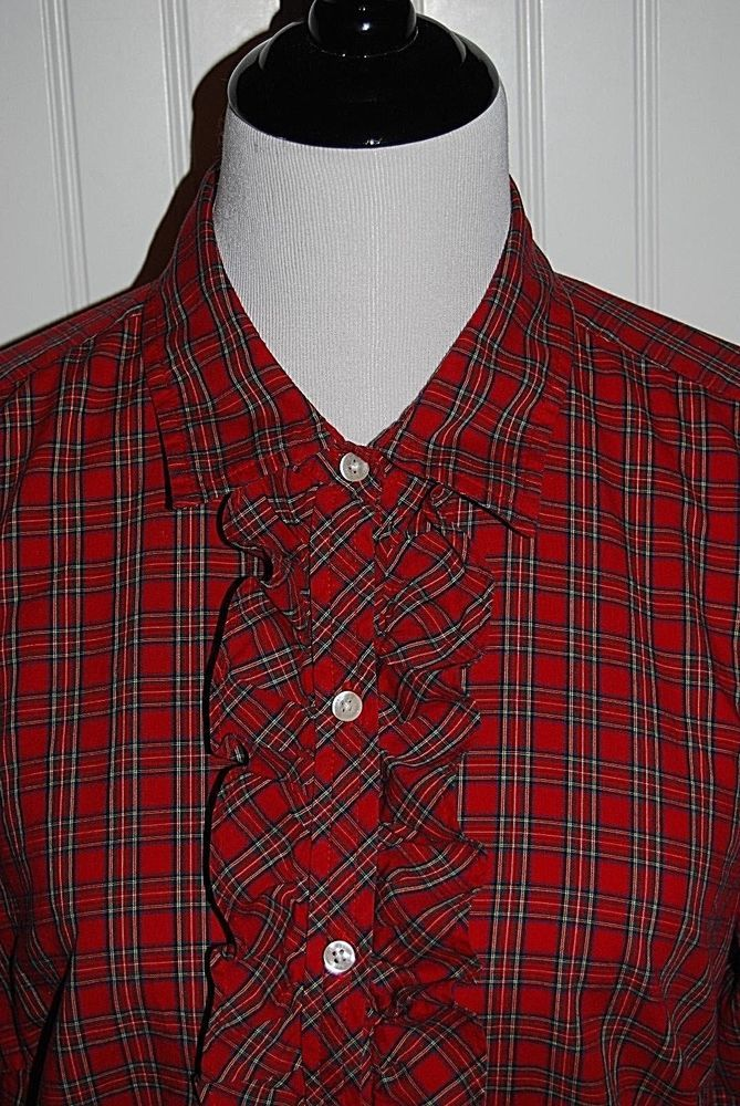 LL Bean Women\'s Large Red Plaid Ruffle Button Front Long Sleeve ...