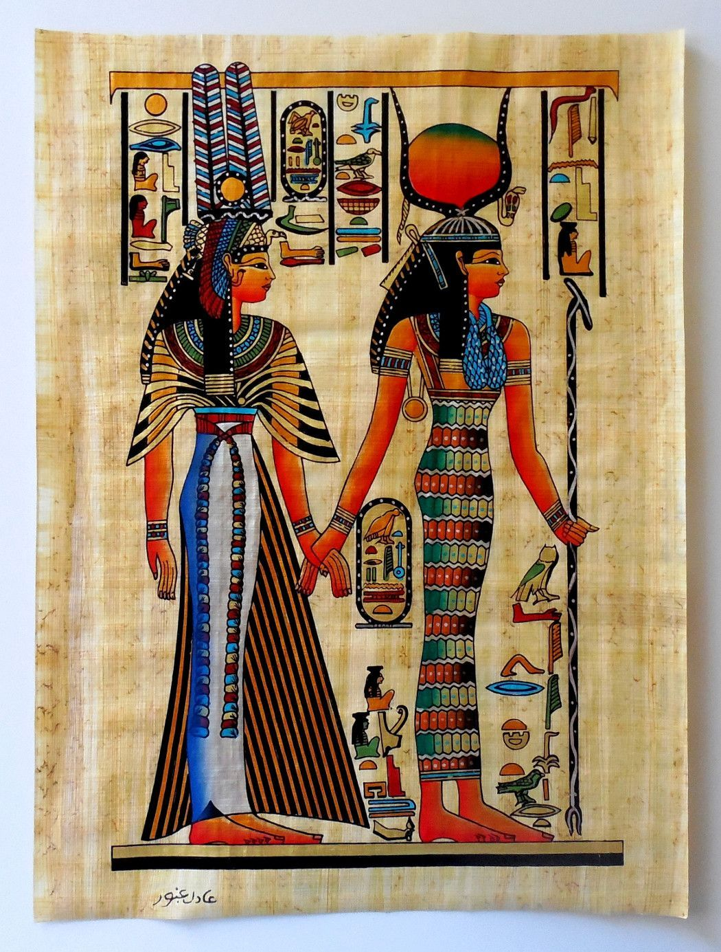 Isis and queen nefertari ancient egyptian papyrus for Egyptian mural art