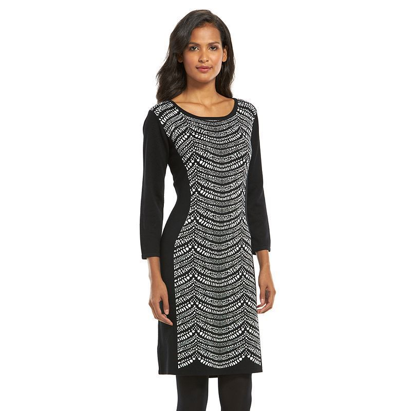 Connected Apparel Print Sheath Sweaterdress - Women's, Oxford
