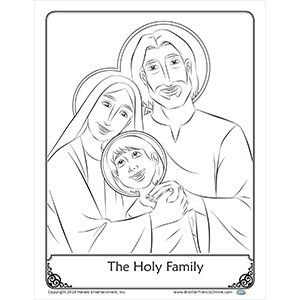 coloring page the holy family