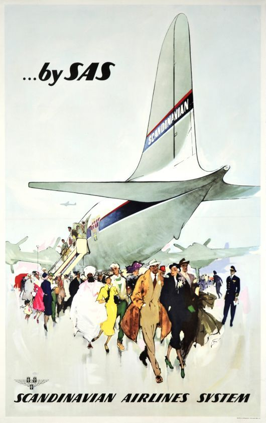 Fly Sas Classic Poster From A Period In Time Where Air Travel Was Viewed As Purely Luxurious Carteles De Viajes Ilustraciones Buenas Fotos