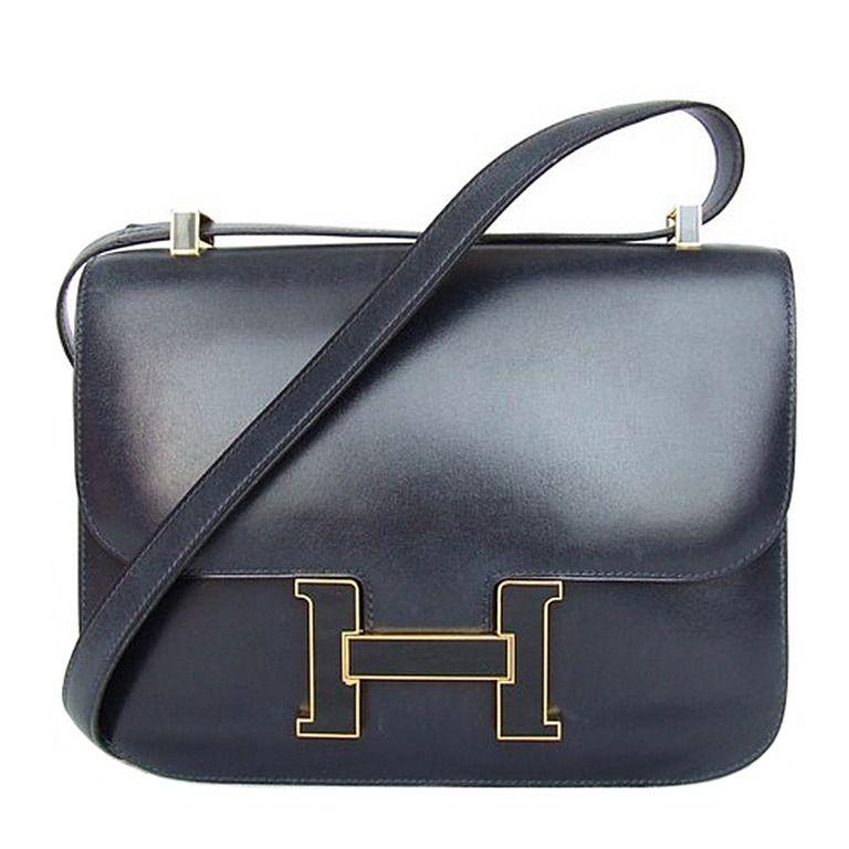 dd950ee2980 Vintage Hermes Constance H Bag Blue Box Leather Gold Hardware 23 cm ...
